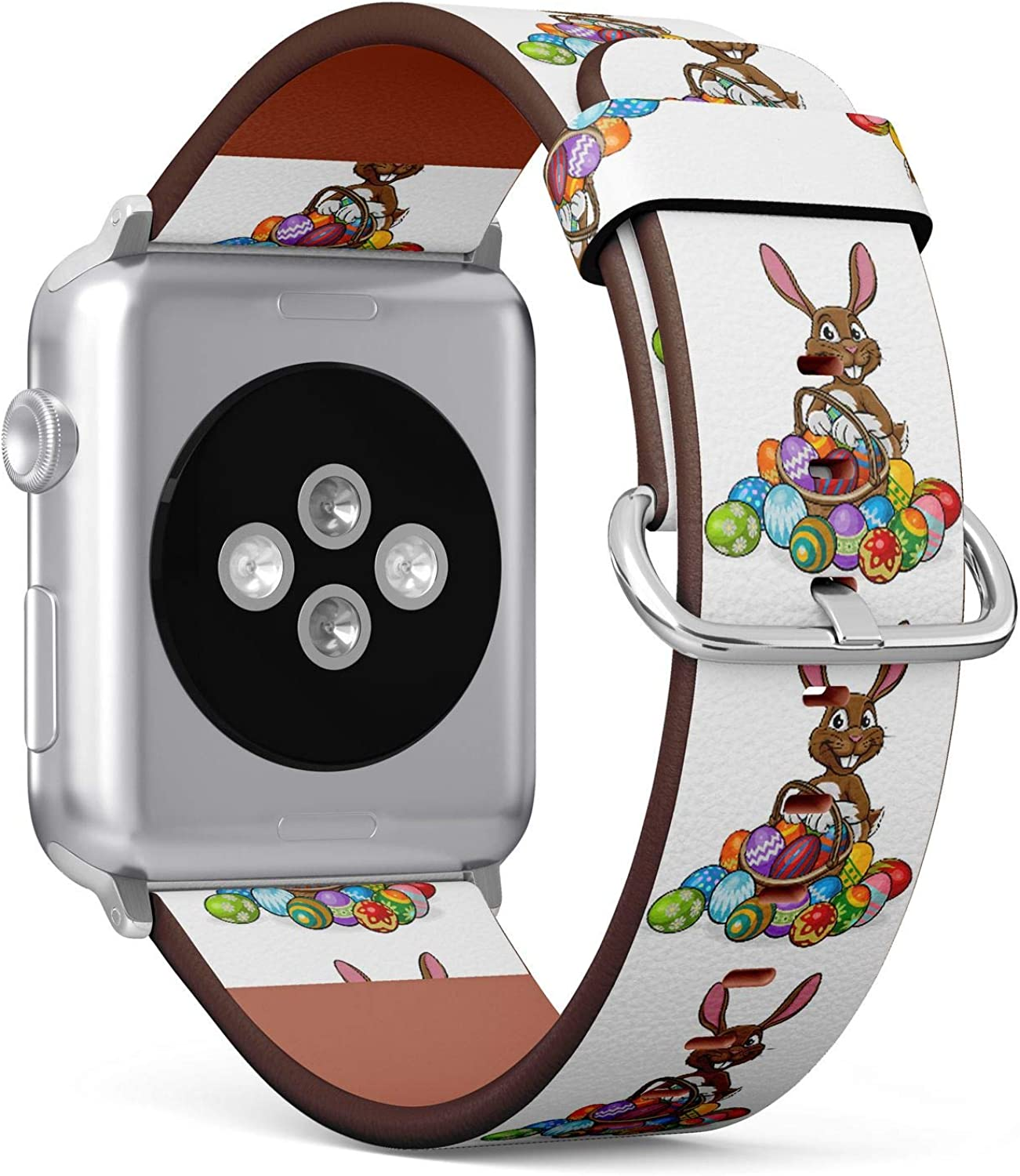 (Easter Eggs and Cute Bunny) Patterned Leather Wristband Strap for Apple Watch Series 4/3/2/1 gen,Replacement for iWatch 42mm / 44mm Bands