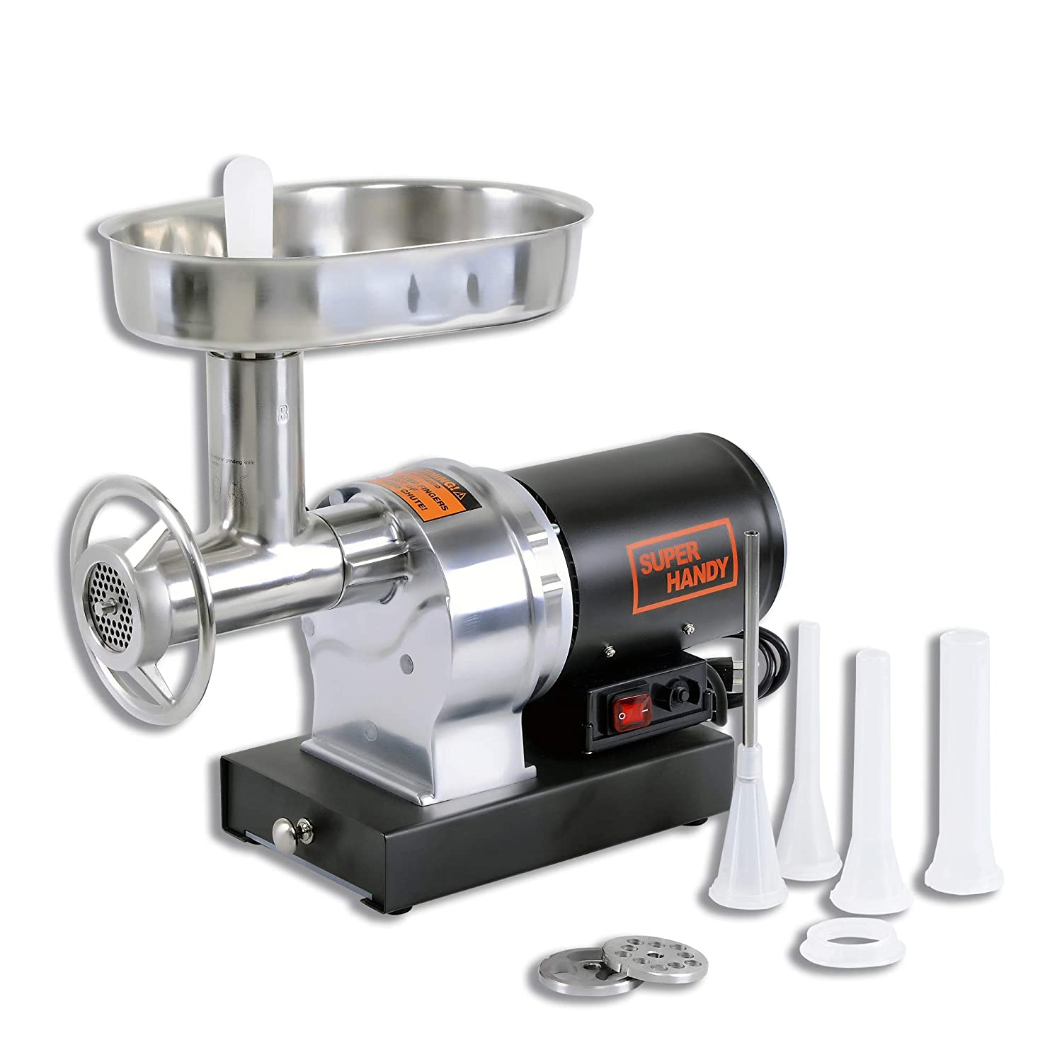 SuperHandy Stainless Steel #8 1/2 HP Electric Meat Grinder Mincer Sausage Stuffer 480lbs Per Hour Heavy Duty Commercial & Kitchen SS Blade, Pan, Grinding Plates & Stuffing Tubes, Stomper, Storage Box