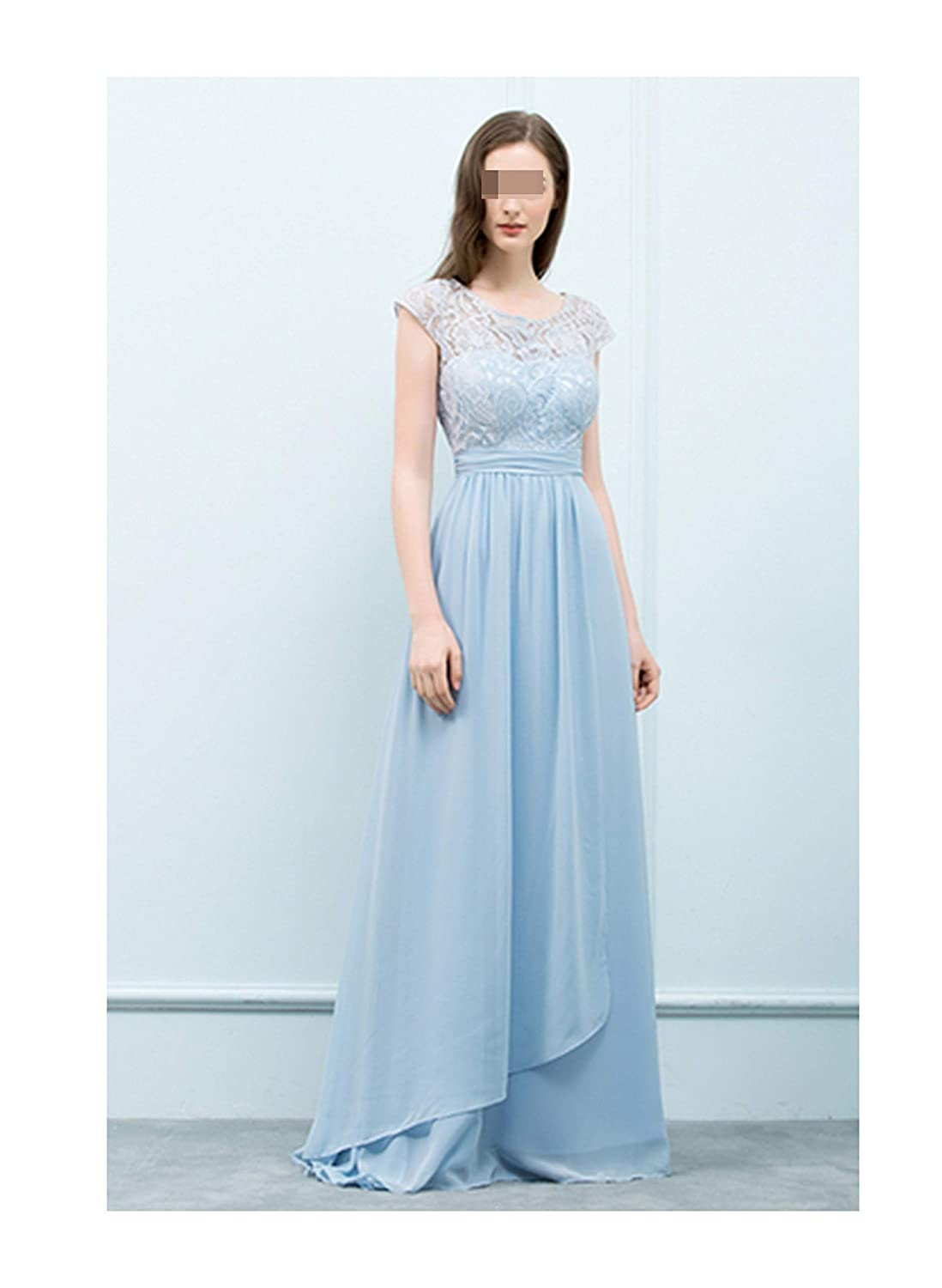 Light Blue Chiffon Evening Dresses Long Formal Party Dress Lace Evening Gowns Zipper Up,Same Color as pic,4