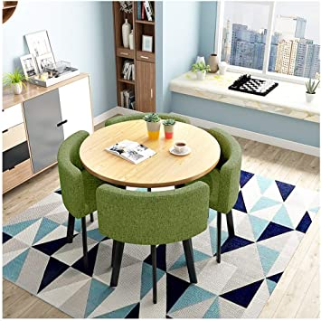 Amazon Com Cafe Tables And Chairs Simple Office Leisure Table Modern Design Round Table 80cm1 Table4 Chairs 5piece Kitchen Dining Table Chairs Detachable Tables And Chairs Wooden Metal Legs Color Gray