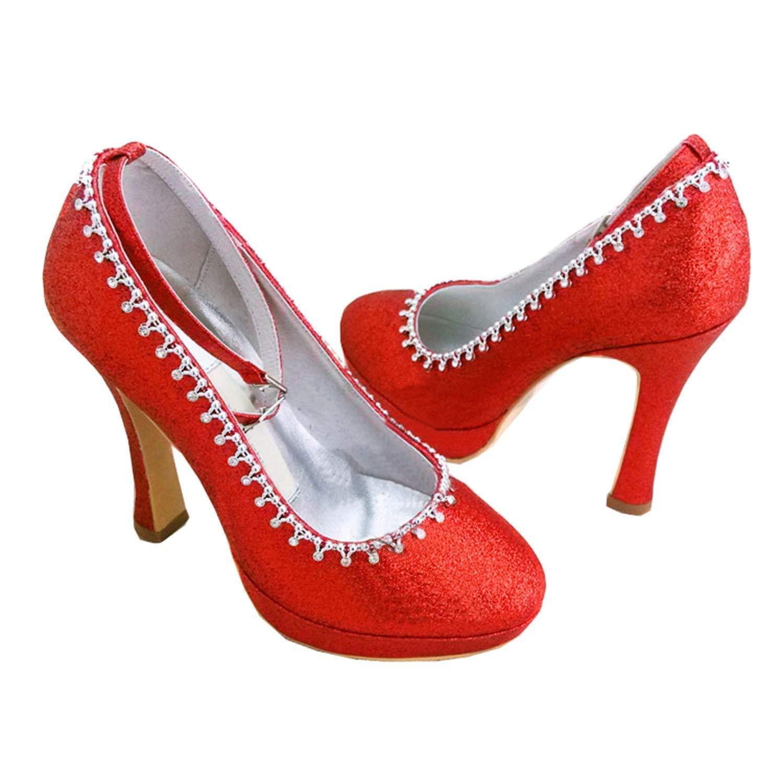 Qiusa GYMZ647 Damen Mandel Zehe Stöckelabsatz Satin Kette Schnalle Plattform Braut Hochzeit Schuhe (Farbe   rot-12cm Heel Größe   6 UK)
