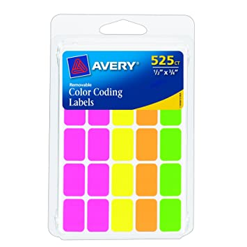 avery removable color coding labels rectangular assorted colors pack of 525 6721 - Avery Colored Labels