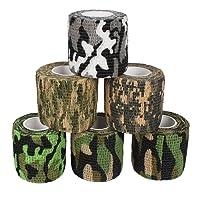 Andux Zone 6 Rollen Haftbandage Verband Elastische Selbsthaftende Cohesive Bandage Elastischer Fixierverband Camouflage Bandagen ZZTXBD-03 Farbe Random