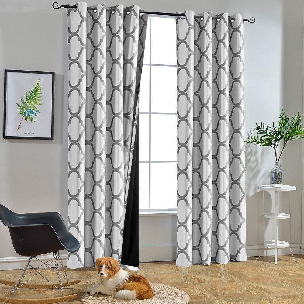 Amazon Com Melodieux Moroccan 100 Blackout Curtains For Bedroom 96 Inches Long Living Room Thermal Insulated Black Liner Grommet Drapes 52 By 96 Inch Off White Grey 2 Panels Kitchen Dining