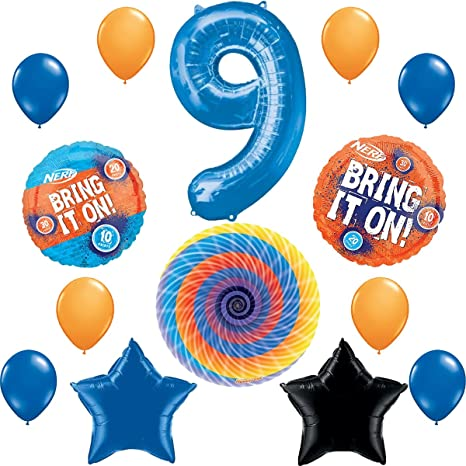 Nerf Party Supplies Happy 9th Birthday Balloon Decorations Bundle