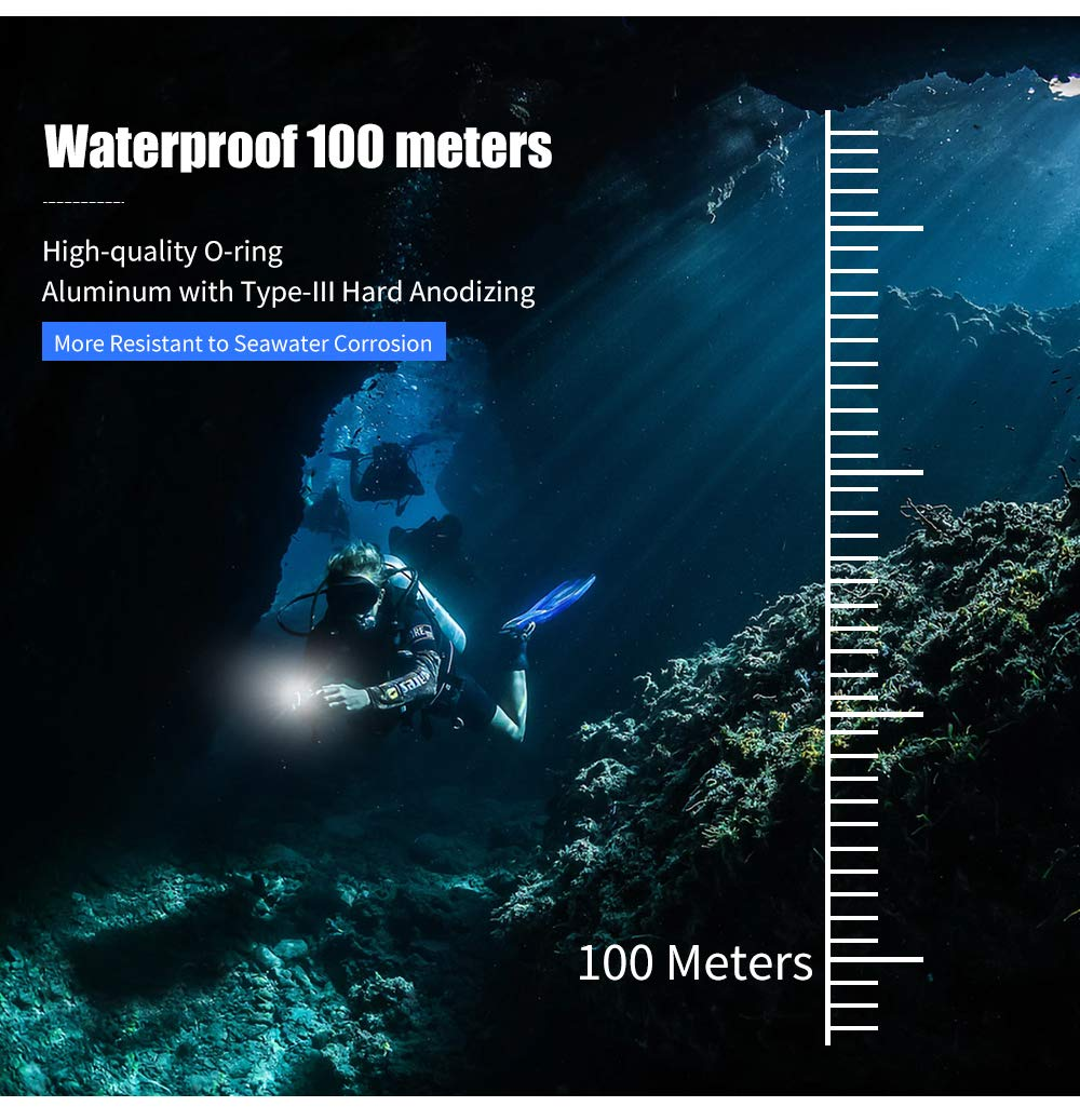 Light+ Stand 1+Battery+Charger DOMINTY Diving Flashlight 12000LM 10x XM-L2+4X Red+4X UV LED Photography Video Scuba Dive Light Submarine Rechargeable Waterproof Underwater 100M Torch Handheld