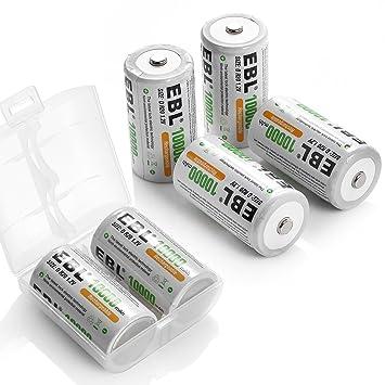 Amazon.com: EBL recargable pilas D 10.000 mAh Ni-MH batería ...