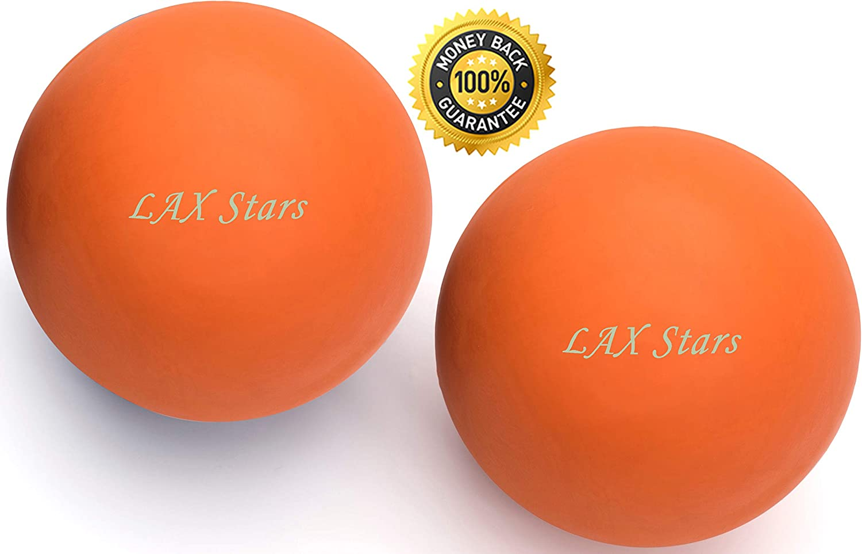 LAX Stars Thérapie par le massage des balles de crosse (relâchement de la tension myofasciale, relâchement du fascia) pour le pied, le dos, le point de déclenchement Orange orange