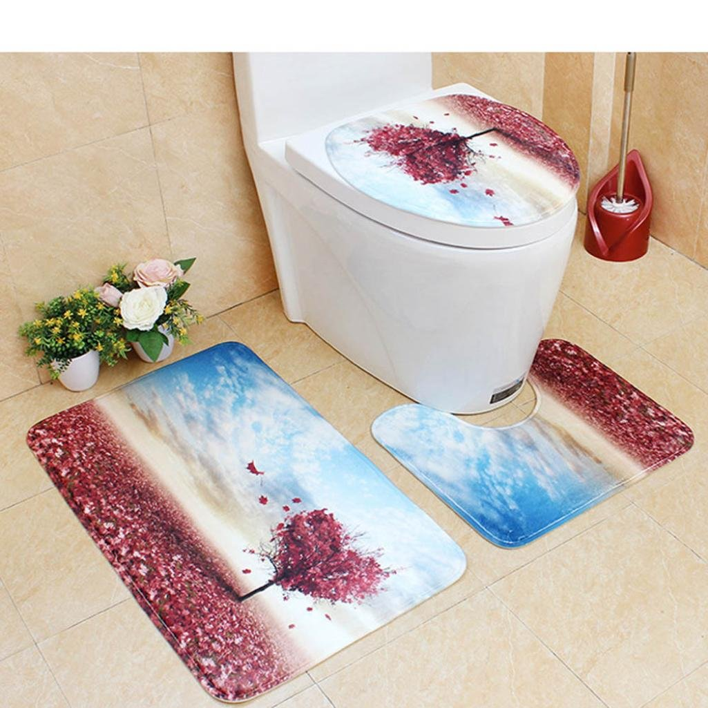 YJYDADA Bathroom Non-Slip Scene Print Pedestal Rug + Lid Toilet Cover + Bath Mat 45X75CM (Yellow)