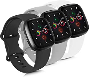 Mugust 3 Pack Sport Bands Compatible with Apple Watch Band 38mm 42mm 40mm 44mm, Soft Silicone Replacement Strap for iWatch Series 5 4 3 2 1 (Black/Gray/White, 42mm/44mm-S/M)