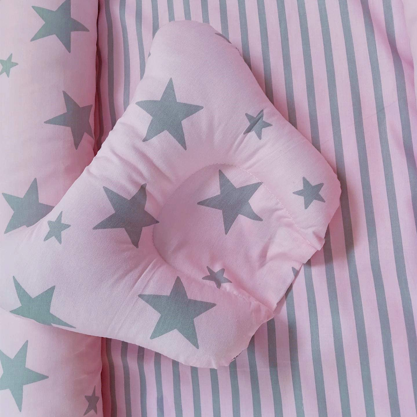 Ustide Baby Bassinet for Bed Pink Ice-cream Design Baby Lounger Breathable Hypoallergenic Co-Sleeping Baby Bed 100/% Cotton Portable Crib for Bedroom//Travel 3 Pieces