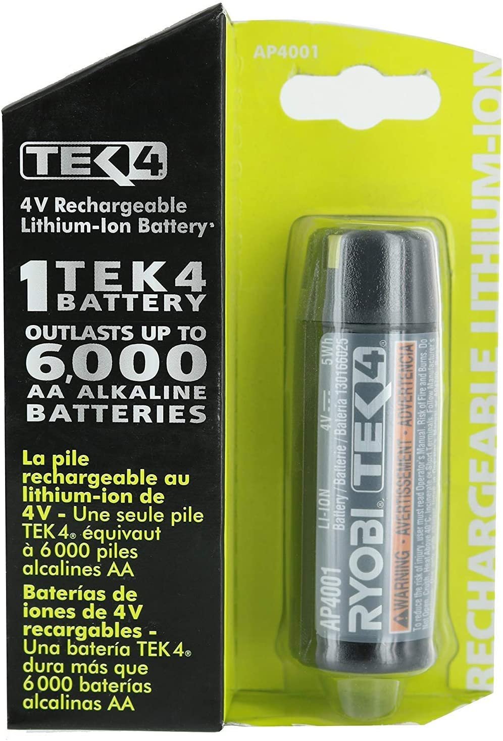 Ryobi AP4001 Genuine OEM Tek4e 4 Volt Compact Lithium Ion Rechargeable Battery Pack (Charger Not Included, Battery Only)