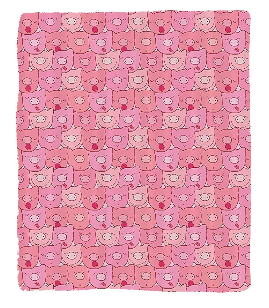 Chaoran 1 Fleece Blanket on Amazon Super Silky Soft All Season Super Plush Pig Decor Collection Funnouts of Pigs with Different Emotions Happy Animal Faces Image Fabric et Extra Pink by chaoran