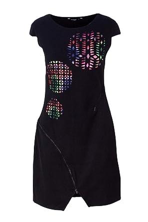 9dbf9de37e9553 Desigual Kurzes Kleid Damen Vest Stella 18WWVK81 m Schwarz: Amazon.de:  Bekleidung