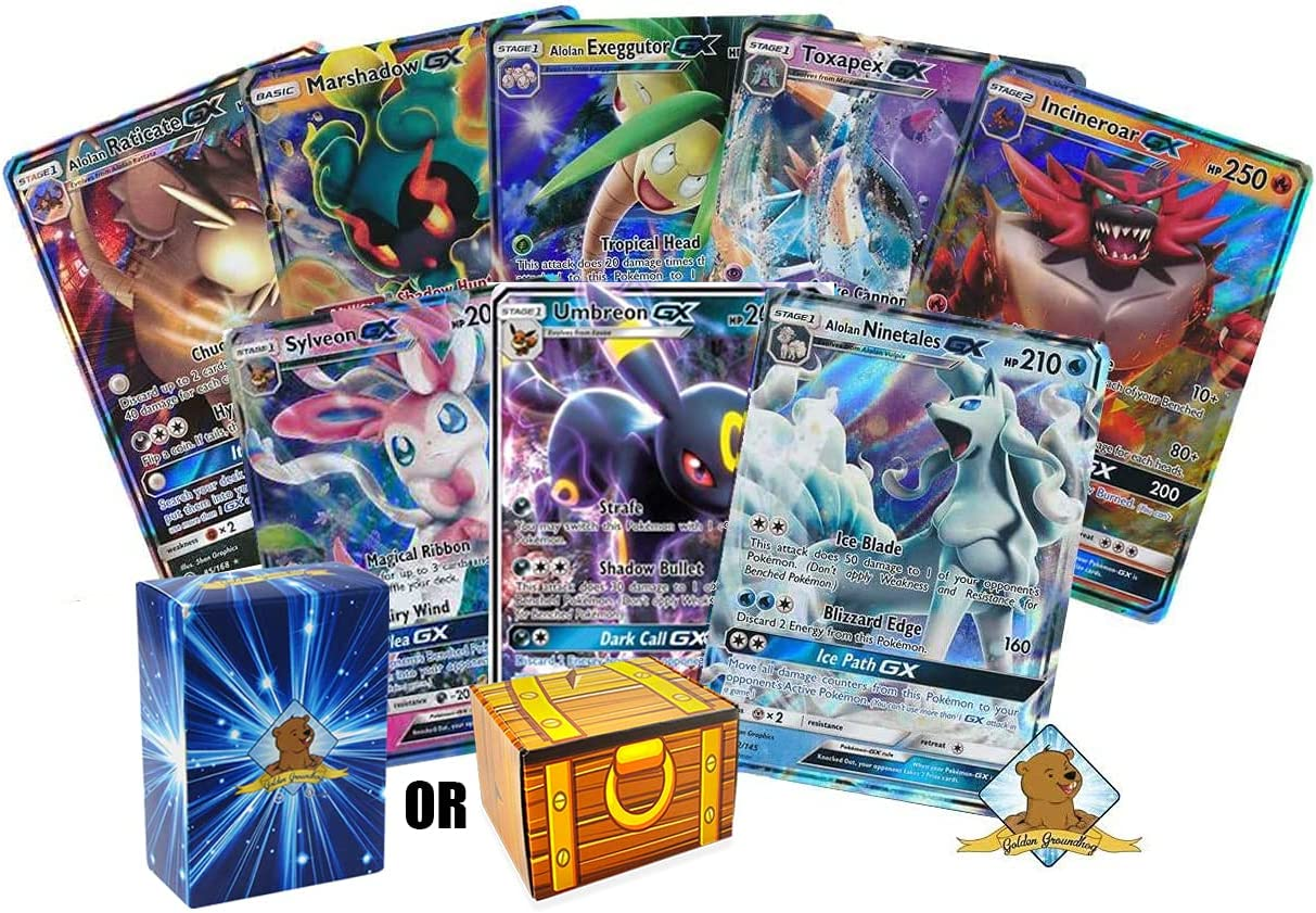 5 Assorted Pokemon Card Lot - Guaranteed 5 Assorted GX Ultra Rares and 1 Assorted Pokemon Figure - Guaranteed Authentic with No Duplicates - Includes Golden Groundhog Storage Treasure Chest