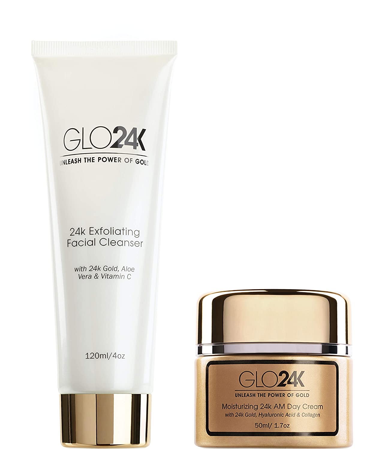 GLO24K Exfoliating Facial Cleanser & Day Cream with 24k Gold, Collagen, and Vitamins A,C,E. For a Radiant appearance and Fresh Looking Skin.