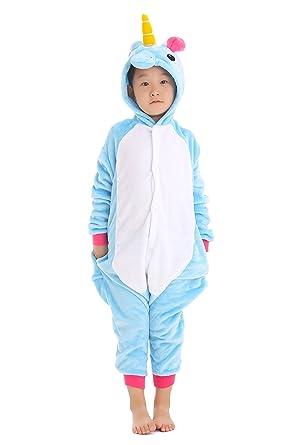 yutown kids unicorn costume animal onesie pajamas children halloween gift blue 100