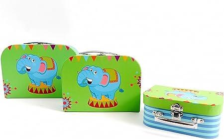 Fashion&Joy Maletín Infantil Juego de 3 Maleta de cartón Elefante Juguete Caja maletín Infantil Set Regalo Box – Caja Maletín typ488: Amazon.es: Hogar