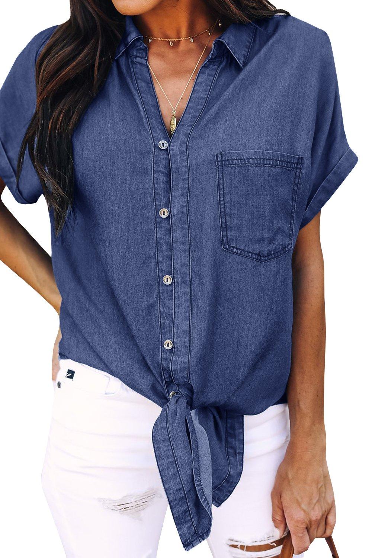Meilidress Womens Tie Knot Front Button Down Denim Shirts Vintage Short Sleeve Tunic Lapel Jeans Tops