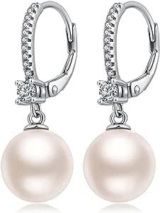 Jiahanzb Pendientes Perlas Mujer Plata de Ley 925 Joyería Fina con Caja de Regalo