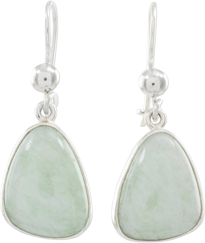 NOVICA Jade .925 Sterling Silver Dangle Earrings 'Apple Green'
