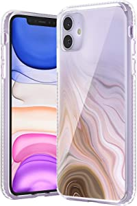 TILON Stylish iPhone Case Designed for Apple iPhone 11(2019) 6.1 Inch Anti-Scratch All Around Shock Absorption Protection Bumper Cover-Champagne-Tint Marble Pattern