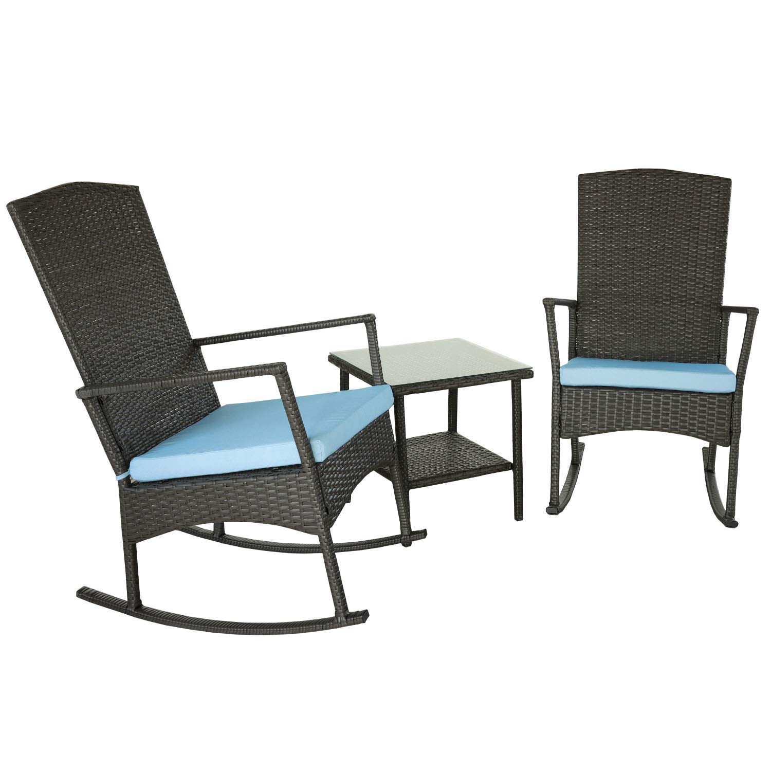 Rattaner Wicker Rocking Chair Set-3 Piece Outdoor Patio Dark Brown Rattan Furniture with Glass Coffee Side Table,Washable Blue Cushion