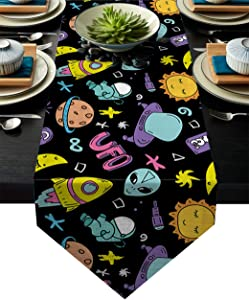 Libaoge Artistic Table Runner Cartoon Cosmic Alien UFO and Astronaut Table Runner and Dresser Scarves for Conference Dining 16 x 72(41 x 183cm)