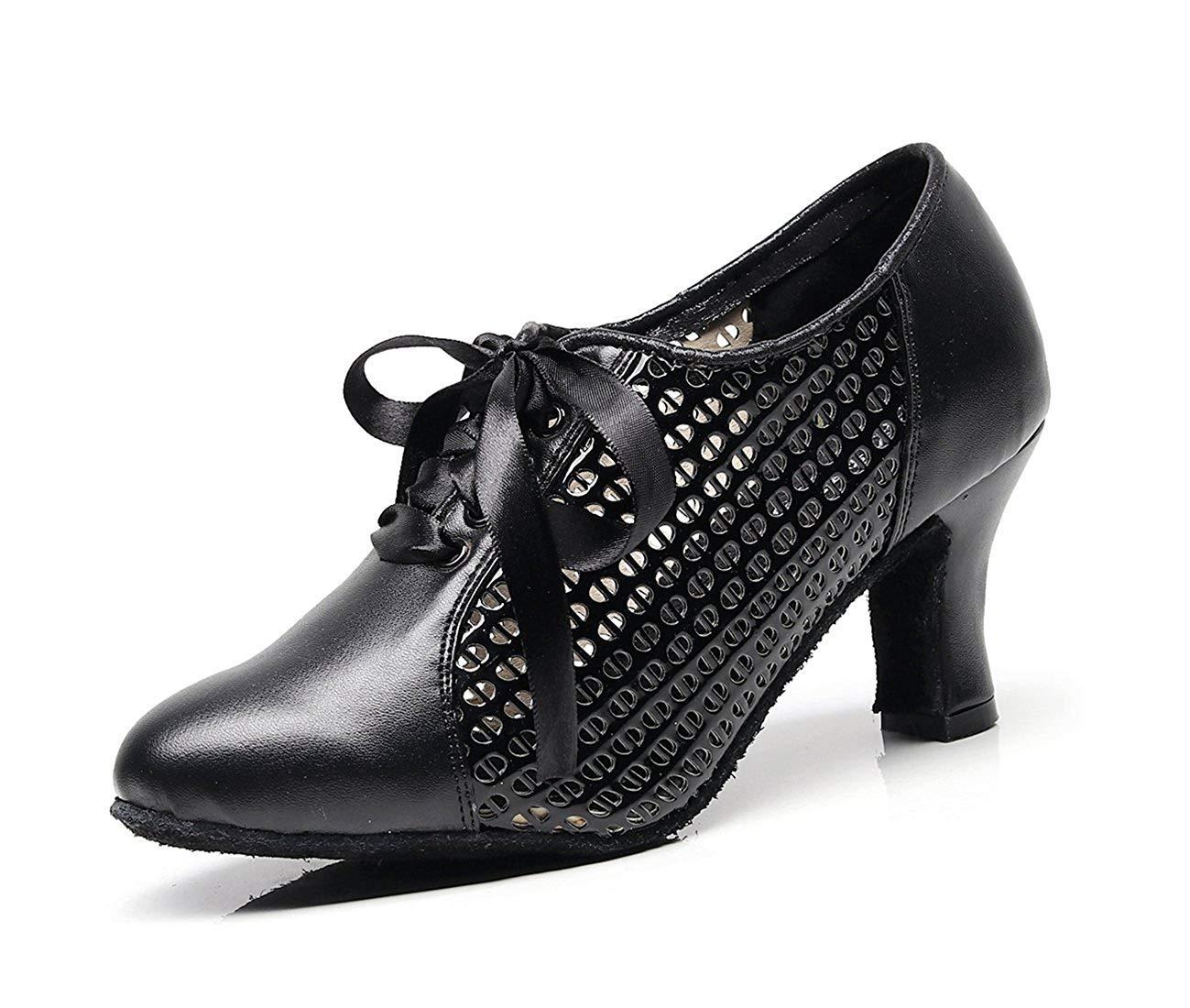 Qiusa Damen Mesh Lace-up Schwarz Synthetische Chunky Low Heel Latin Ballroom Tanzen Pumps Abendschuhe UK 4 (Farbe   - Größe   -)