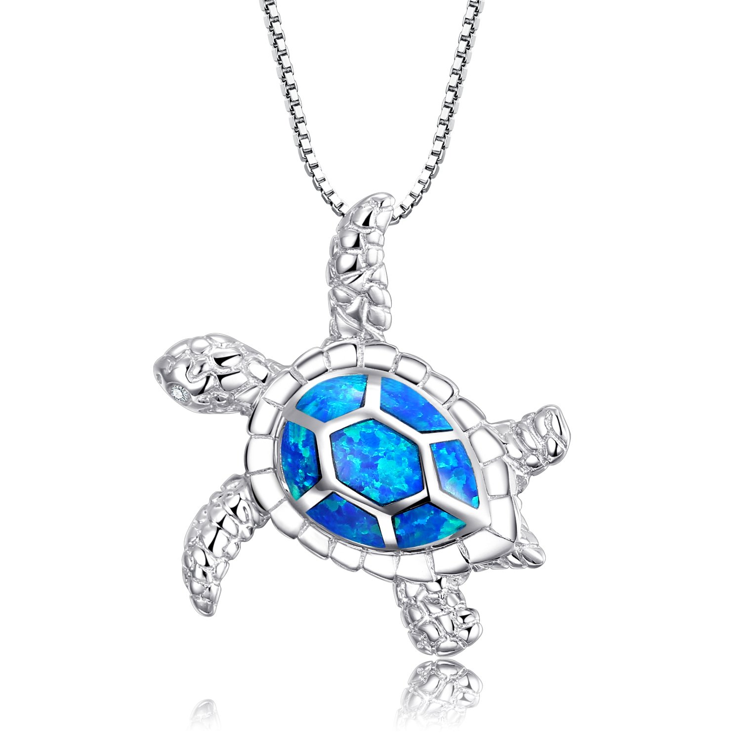 Victoria Jewelry [Health and Longevity] 925 Sterling Silver Created Blue Opal Sea Turtle Pendant Necklace 18'', Birthstone Jewelry for Women(Blue)