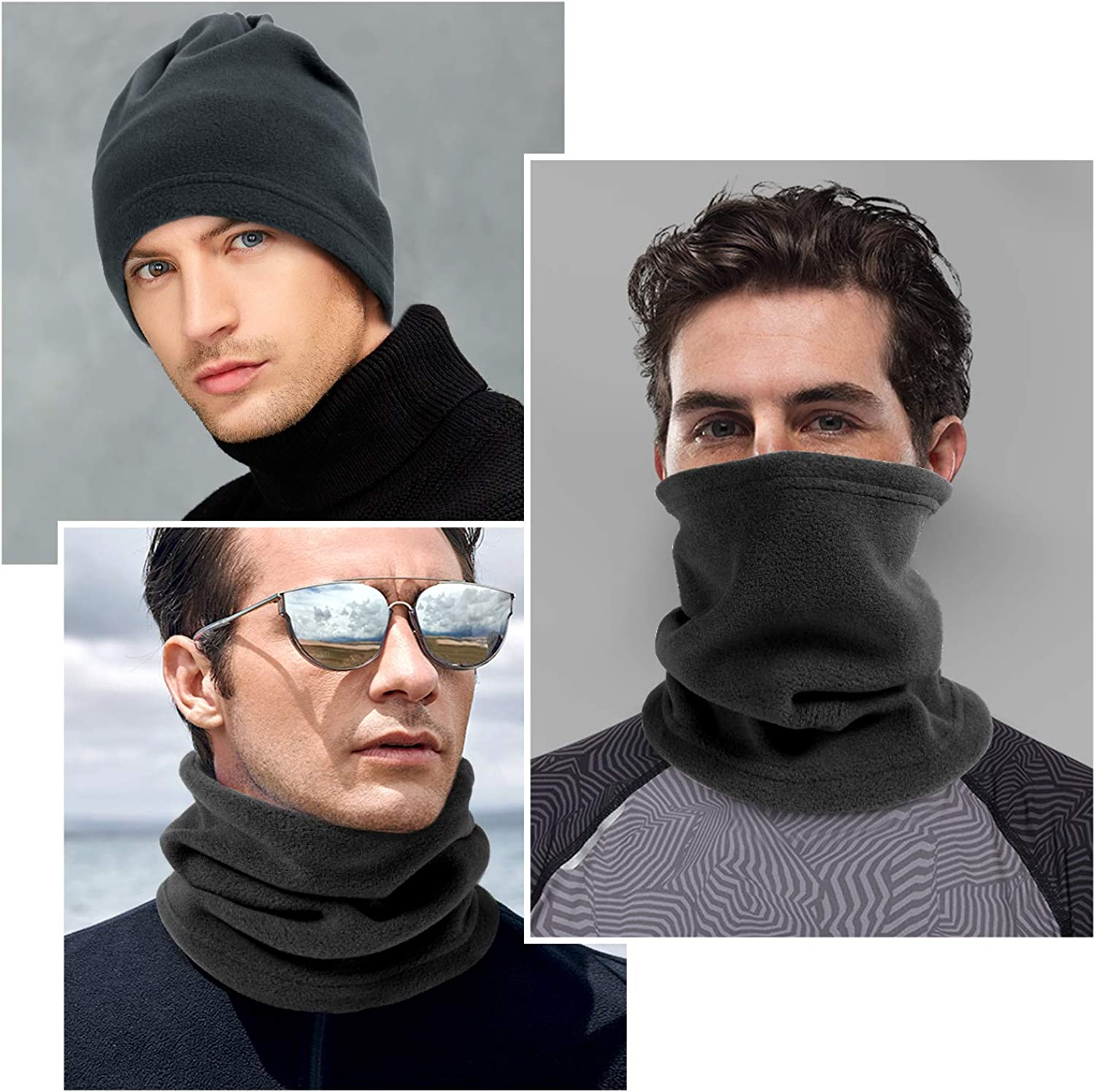 Fleece Ear Warmers Headband Winter Neck Warmer Gaiter Tube Set for Men Women