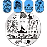 Born Pretty Nail Art Stamping Plates Image Plate Zebra Wolf Animal Patterns BP16