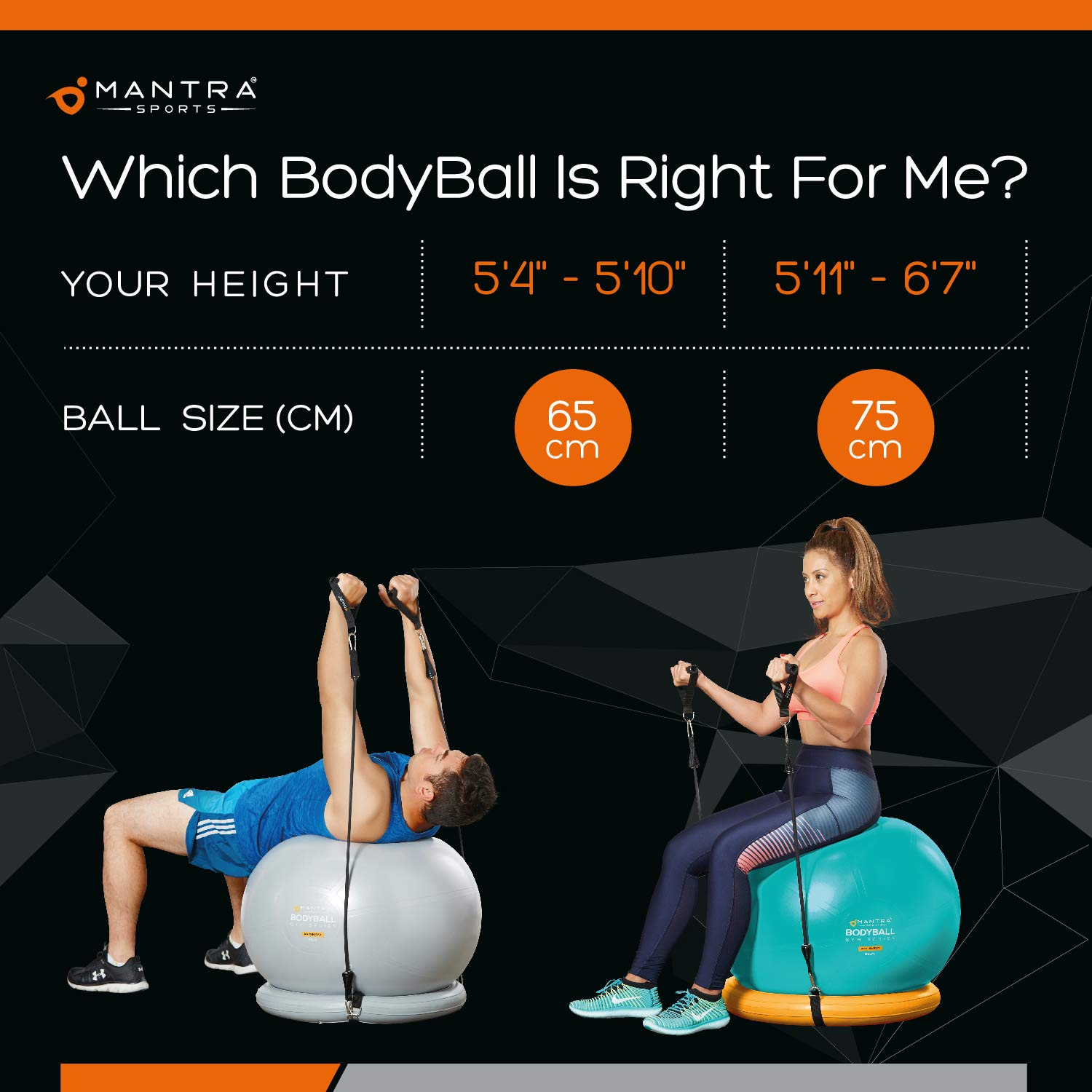 Exercise Ball Chair - 65cm & 75cm Yoga Fitness Pilates Ball & Stability Base for Home Gym & Office - Resistance Bands, Workout Poster & Pump. Improves Balance, Core Strength & Posture - Men & Women by Mantra Sports (Image #8)