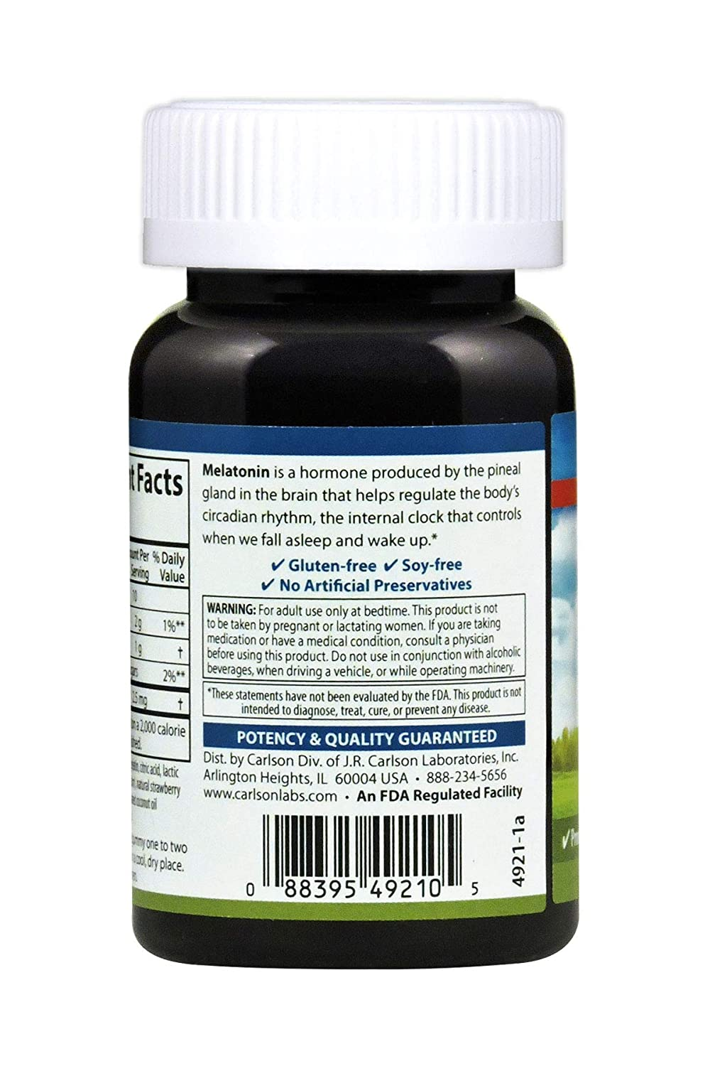 Amazon.com: Carlson Melatonin Gummies - Travel Size, 2.5 mg, Strawberry, Healthy Sleep, 20 Gummies: Health & Personal Care