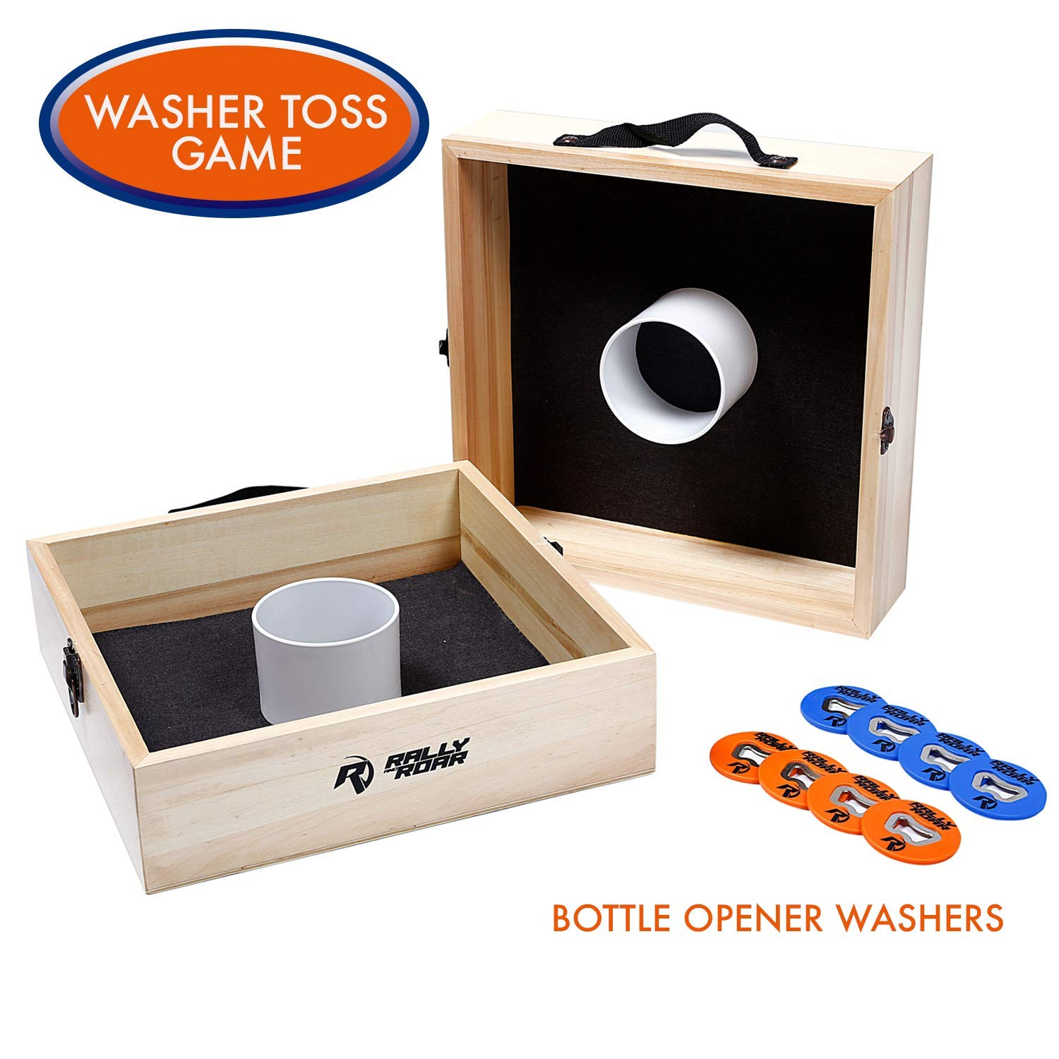 Washer Toss Game by Rally and Roar - Portable 10 Piece Pitching Washers Target Set - 15in x 15in x 4in - Official Regulation Size - Stainless Steel Washer Bottle Opener - Outdoor Party Games - Washoes by Rally and Roar