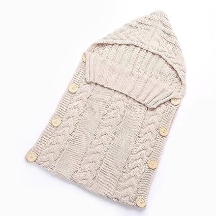Saco de dormir para bebé de Hi8 Store, hecho a mano con punto de ganchillo, capucha tejida, para recién nacidos. beige beige Talla:talla única