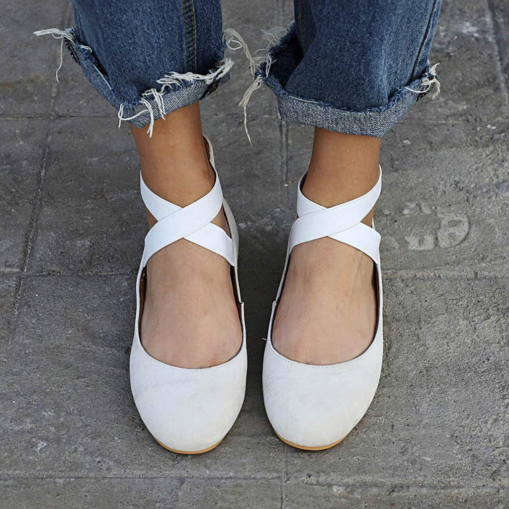 Gillberry Womens Classic Comfort Ballerina Flats Elastic Crossing Straps