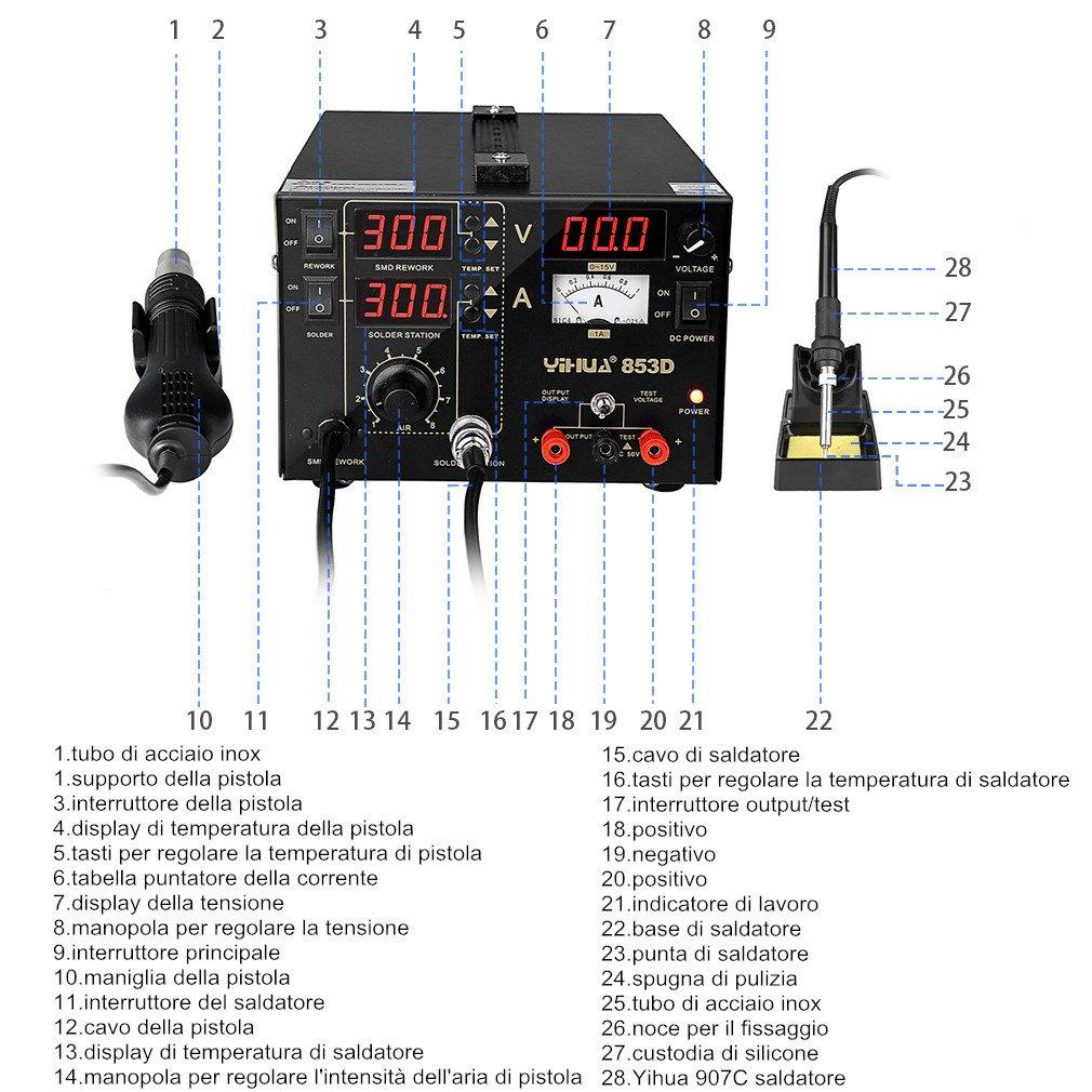 YiHua 853D - Estación de soldadura y desoldadura de aire caliente 3 en 1, 15 V, 1 A, corriente DC, estación antiestática, con pantalla LED y pistola de aire ...