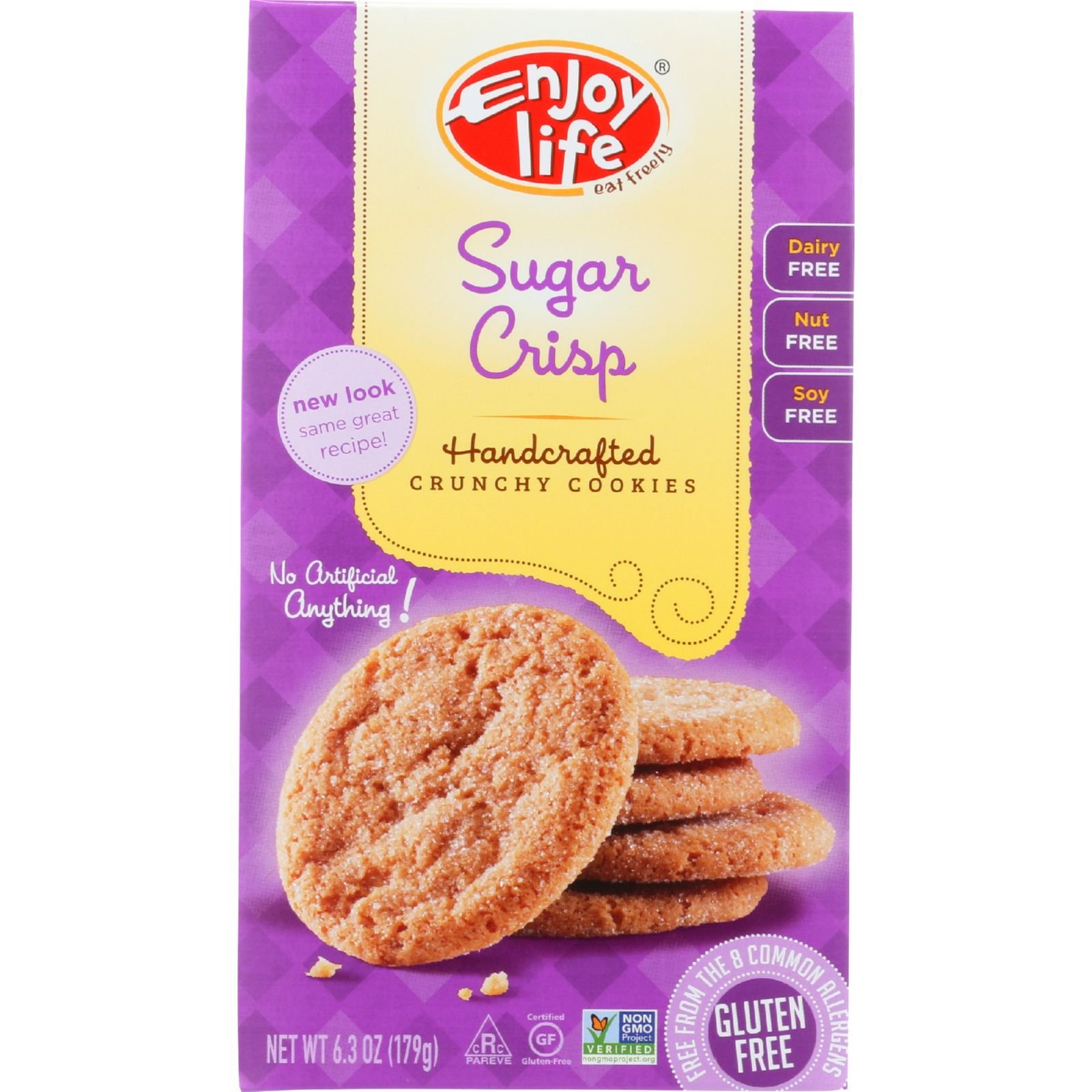 Enjoy Life Cookie - Crunchy - Sugar Crisp - Crunchy - Gluten Free - 6.3 oz - case of 6 - Gluten Free - Wheat Free-Vegan