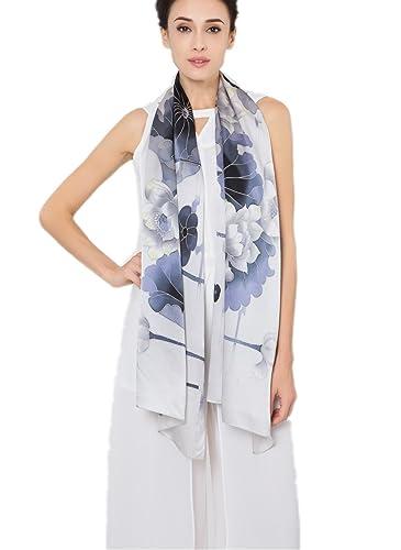 Prettystern - dipinto a mano foulard donna lungo 180cm 100% SETA elegante pittura a inchiostro cines...