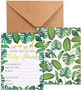 Baby Shower Invites - 36 Fill-in Baby Shower Invitations w/ Envelopes, Tropical Safari Animal Theme, Green Palm Leaves with Gold Foil Designs, Party Supplies for Baby Showers or Parties, 5 x 7 Inches