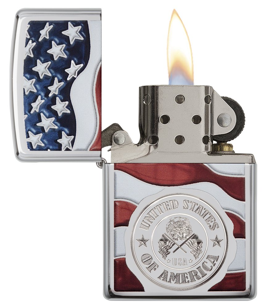 Zippo America Stamp on Flag Pocket Lighter, High Polish Chrome by Zippo (Image #3)