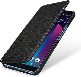 StilGut Book Type Housse en Cuir pour HTC U11+. Étui de Protection HTC U11+ en Cuir véritable à Ouverture latérale et Fonction Smart-Cover, Noir
