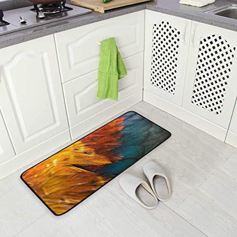 Amazon Com Chicken Rooster Feather Kitchen Floor Mat Non Slip Comfort Office Standing Cushioned Rug Home Decor Indoor Outdoor 39 X 20 Dining