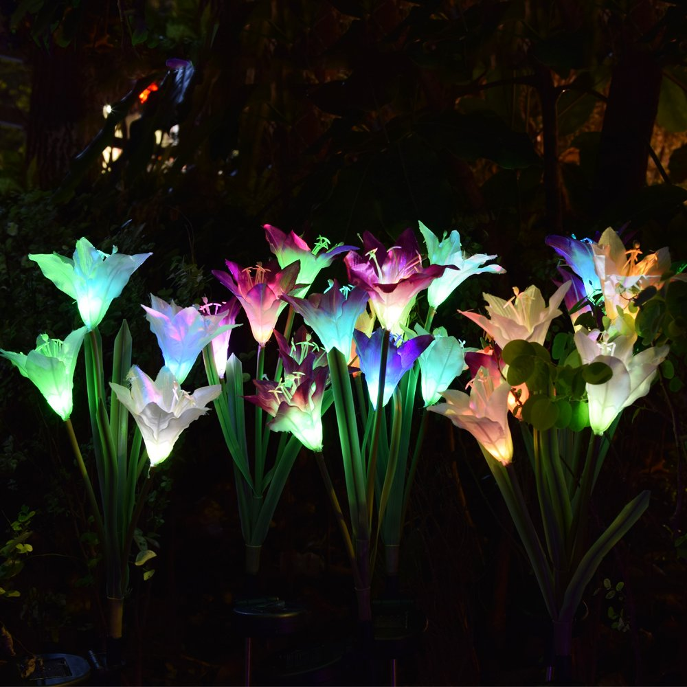 Outdoor Solar Garden Stake Lights - 2 Pack Solarmart Solar Powered Lights with 8 Lily Flower, Multi-color Changing LED Solar Stake Lights for Garden, Patio, Backyard (Purple and White) by Solarmart (Image #7)