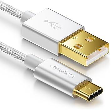 deleyCON Cable de datos USB C 2m de Nylon con conector de metal a USB 2.0
