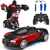 Zahooy RC Car Robot Transform Model Toy,1:18 Red Remote Control Deformed Vehicles,Racing Automobile Deformation with…