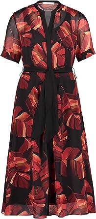 Betty & Co sukienka midi, kolor: czarny/czerwony 100 % Polyester, rozmiar: 44: Odzież
