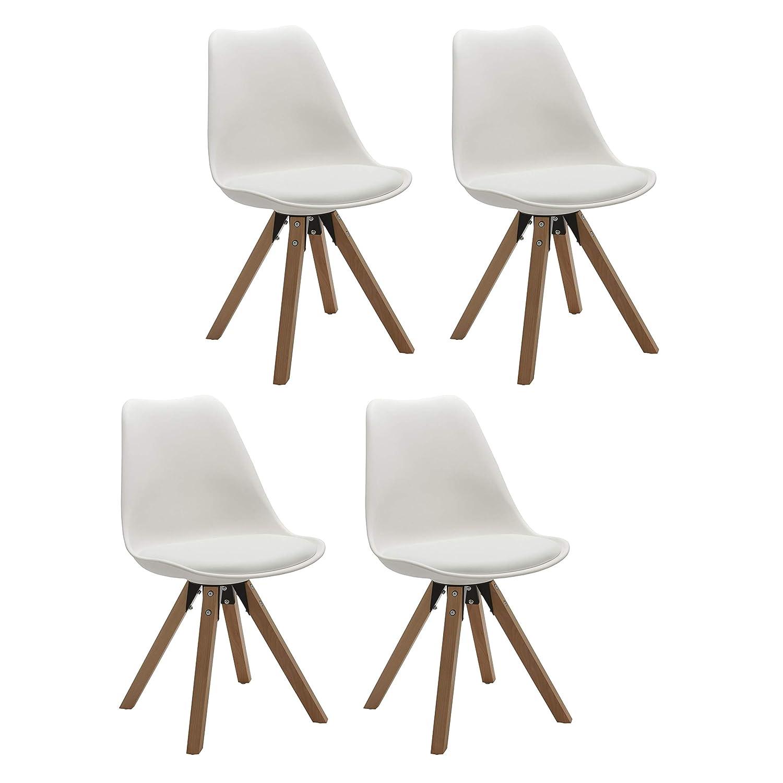 Duhome Elegant Lifestyle 4er Set Stuhl Esszimmerstühle Küchenstühle in Weiss Küchenstuhl mit Holzbeine Sitzkissen Esszimmerstuhl Retro Küchenstuhl Farbauswahl