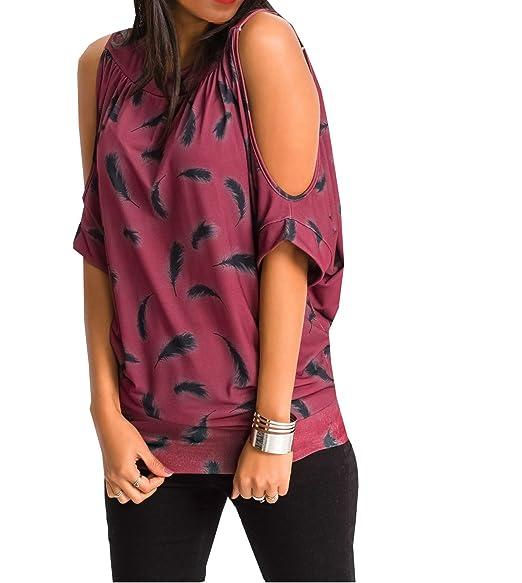 Smalltile 2018 Mujer Verano Remata Blusa Tops Moda Florales Impresa Larga Camisetas Casual Cuello Redondo Sin